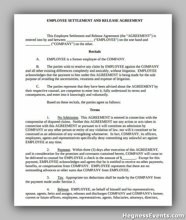 Settlement and Release Agreement Form