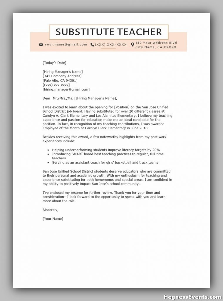 Substitute Teacher Cover Letter Example Template