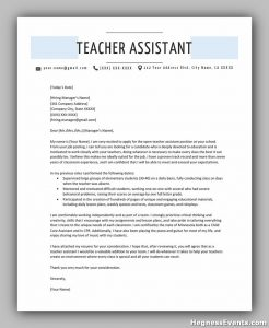 Teacher Assistant Cover Letter Example Template