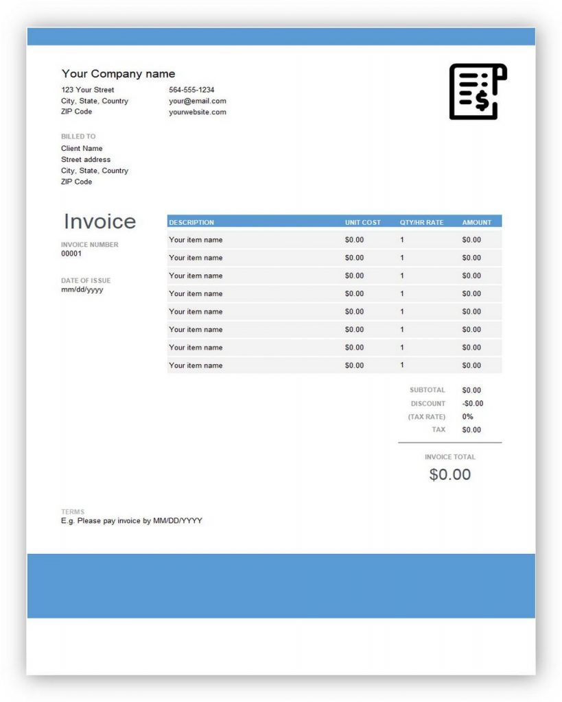 quickbooks invoice template for word