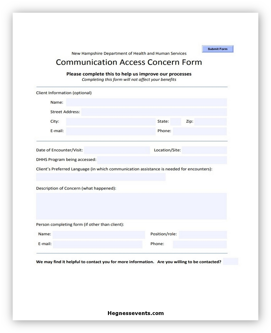 Communication Access Concern Form