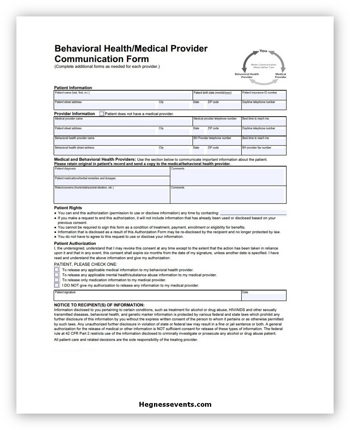 Communication Form Template