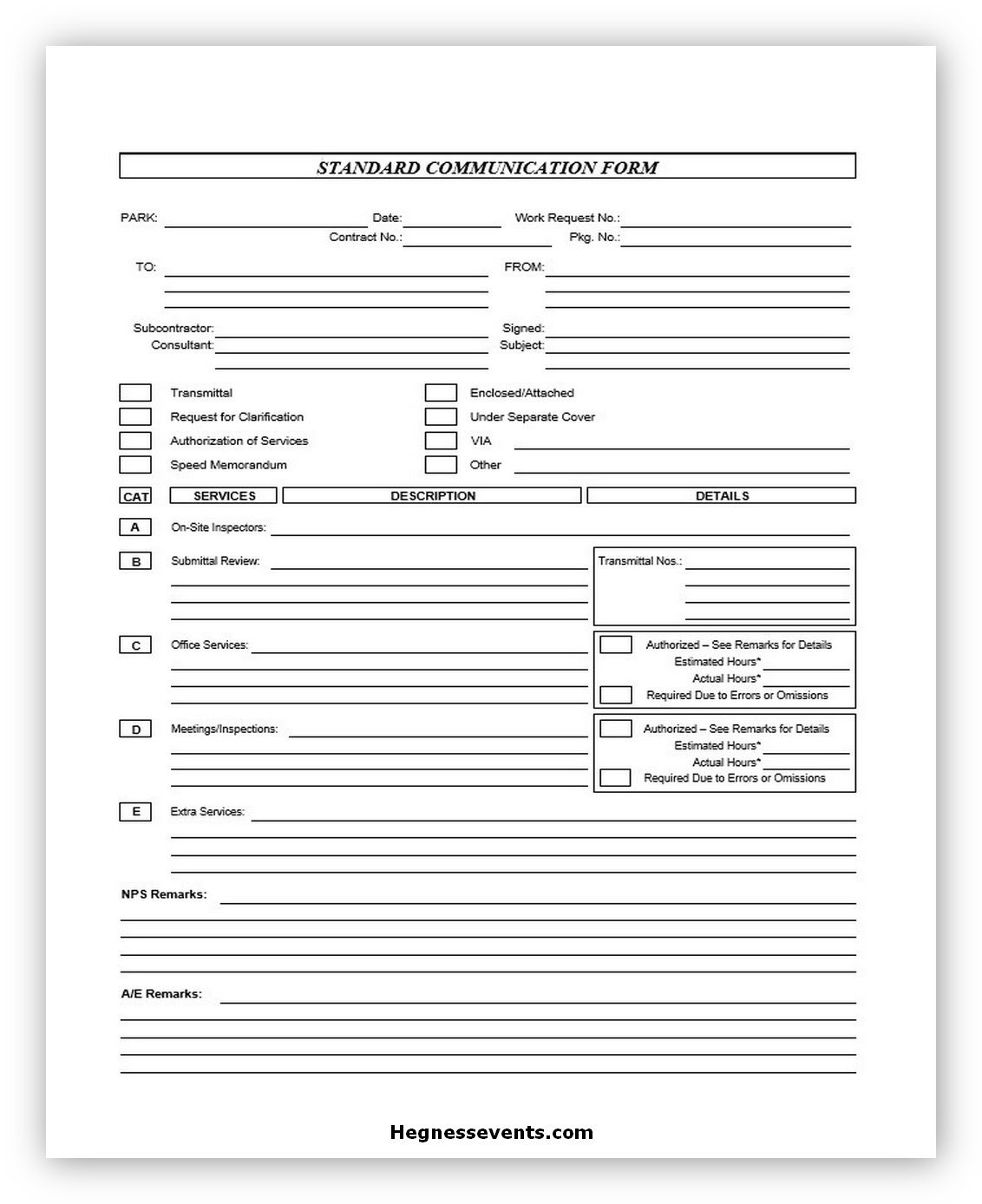 Communication Form in DOC