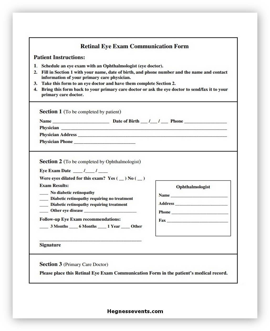 Exam Communication Form