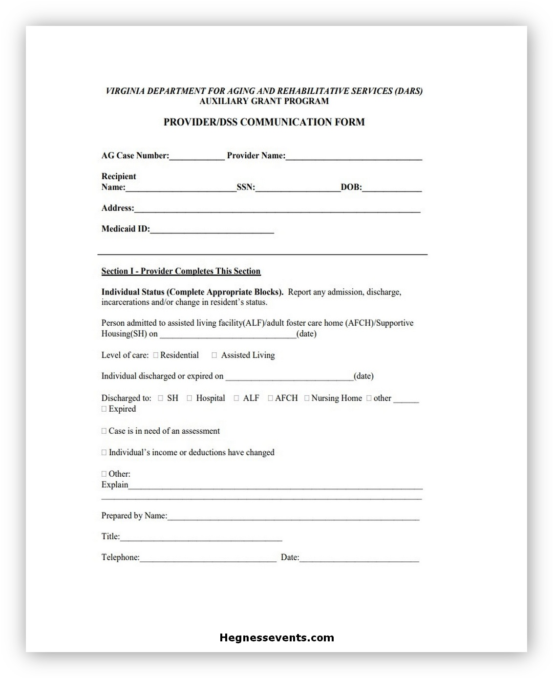 Providers Communication Form