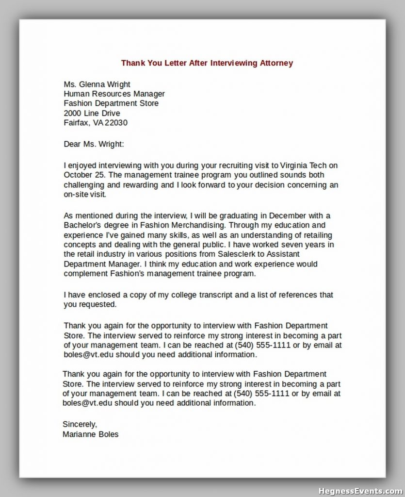 Thank You Letter After Interviewing Attorney