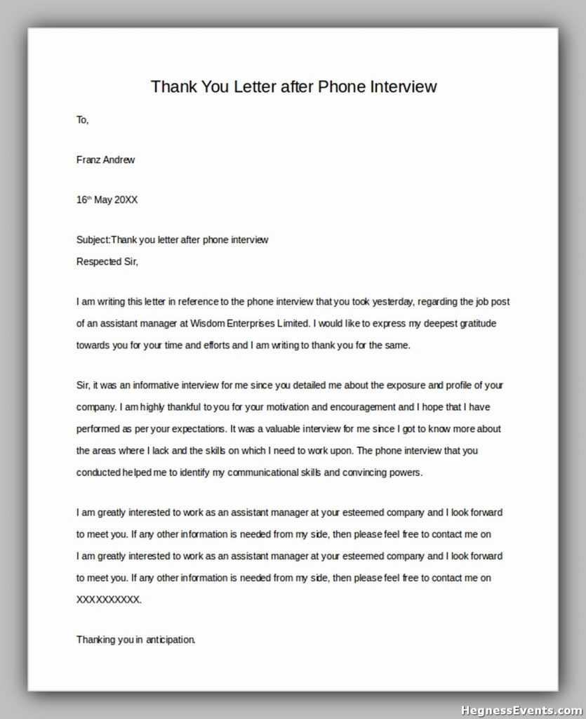 Thank You Letter After Phone Interview1