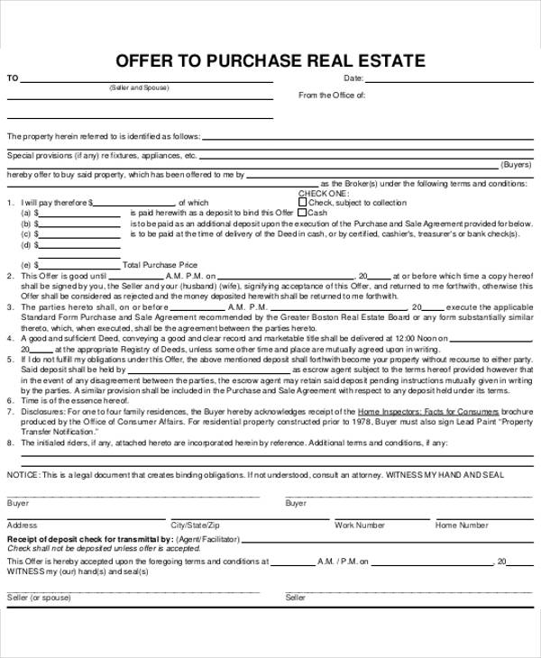 Offer To Purchase Real Estate