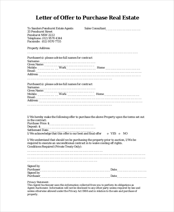 Letter of Offer To Purchase Real Estate