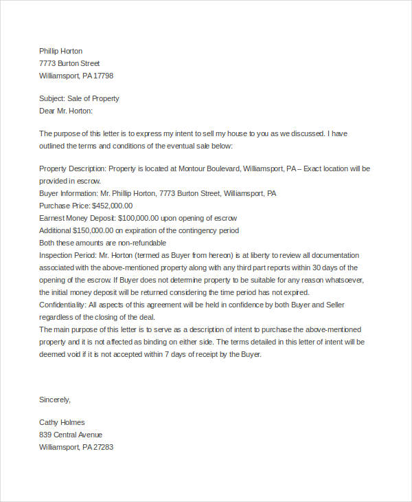 Home purchase offer letter template