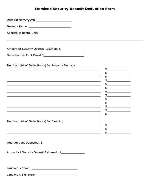 Security deposit form pdf