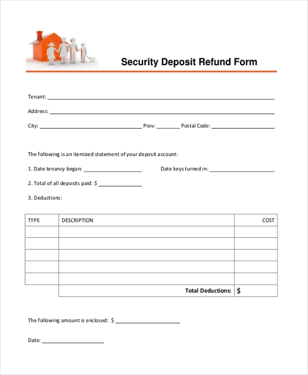 Security deposit Refund Form