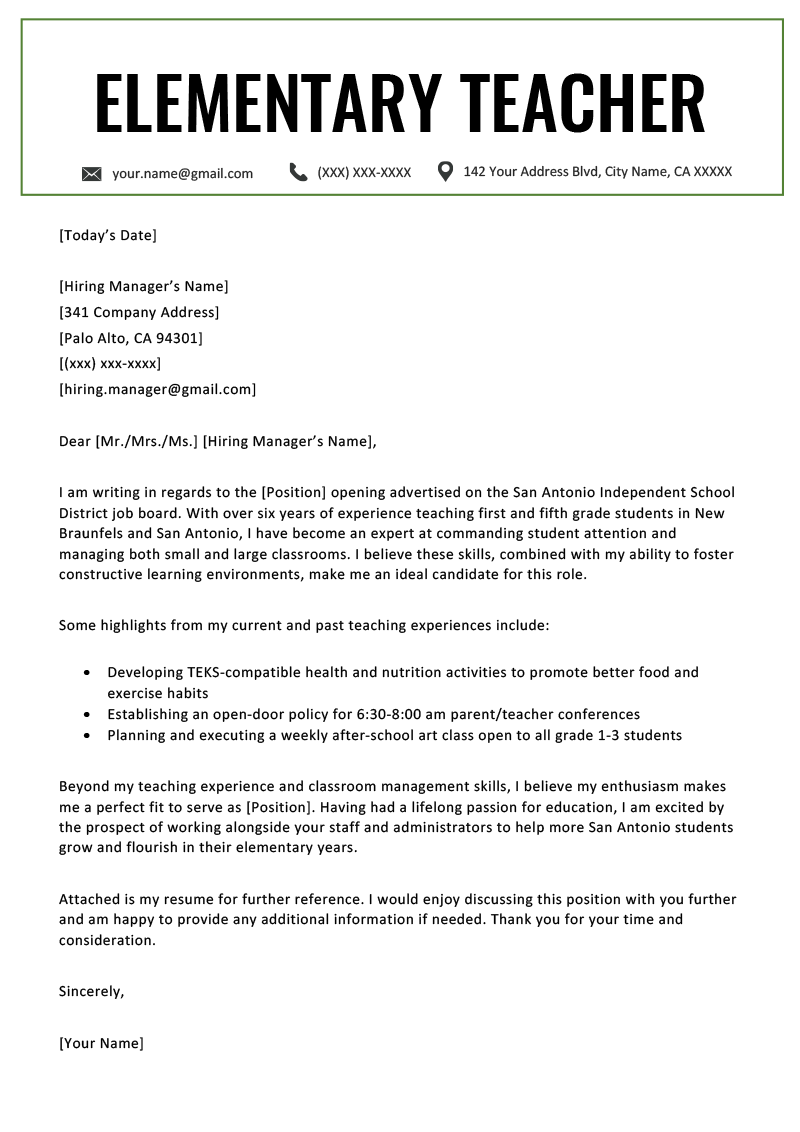 teacher cover letters elementary teacher cover letter example template