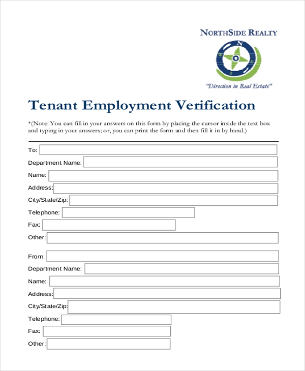 Tenant Employment Verification Form