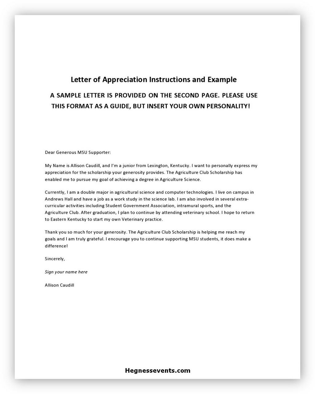 Appreciation Letter Example 01