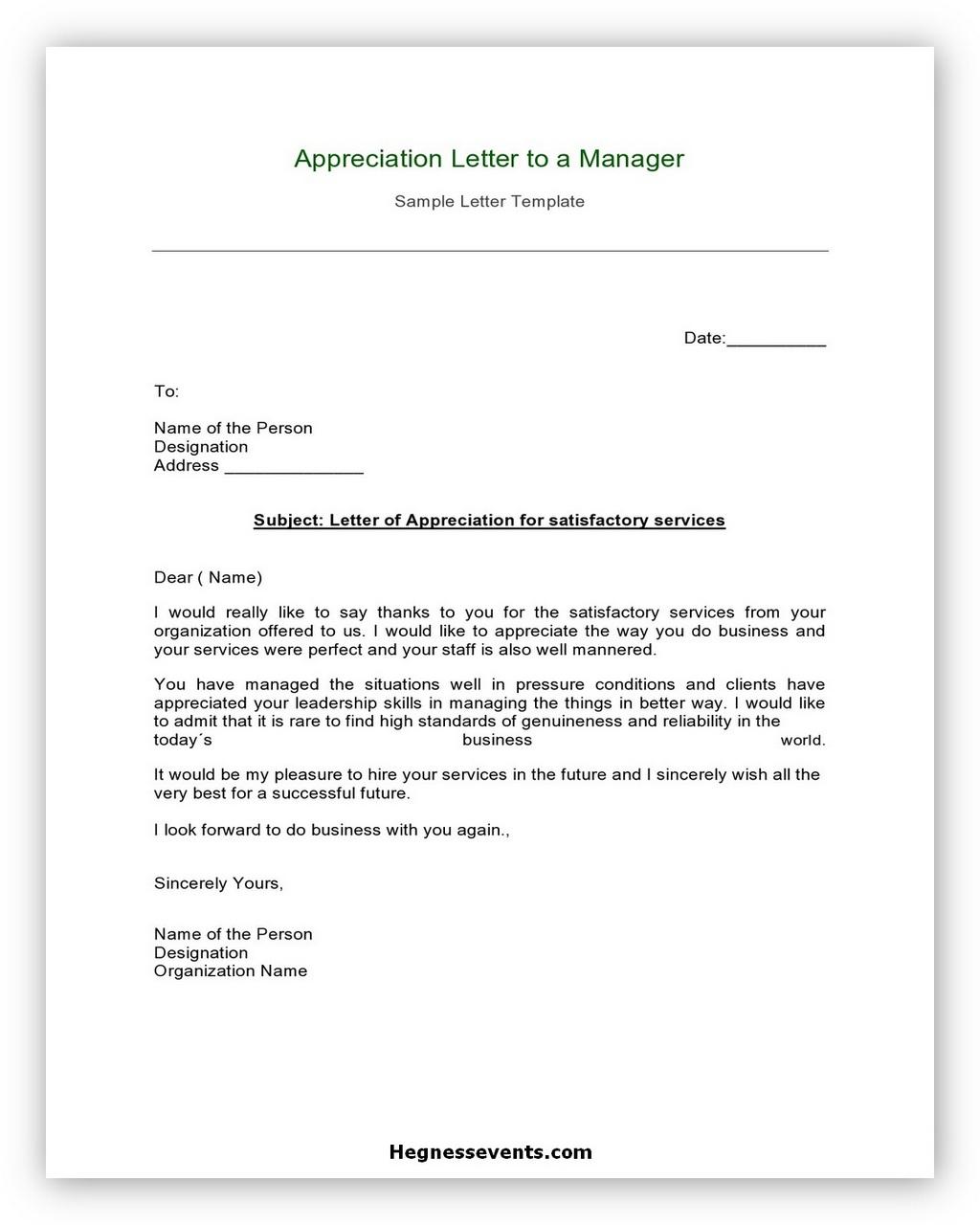 Appreciation Letter Example 02