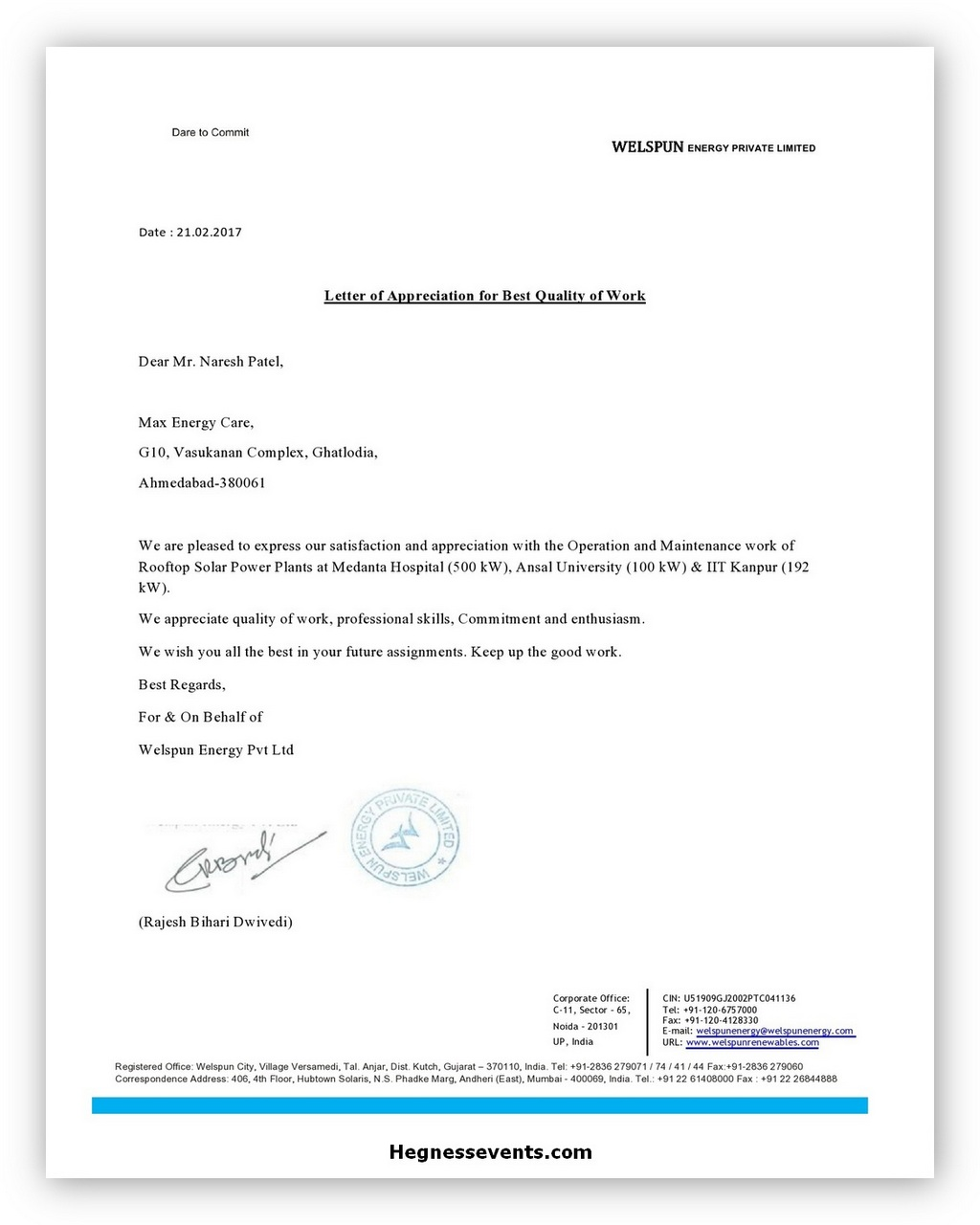 Appreciation Letter Example 07