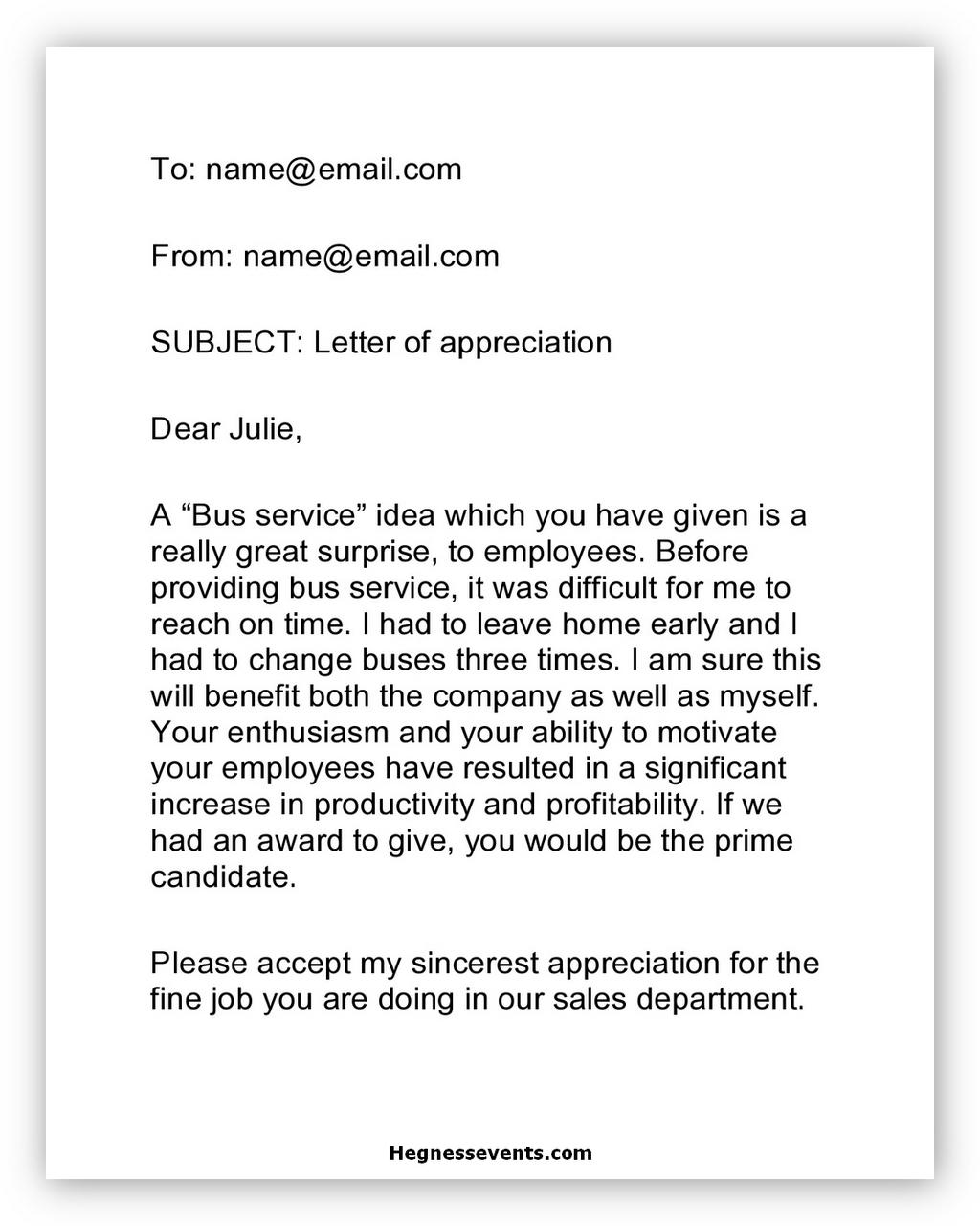 Appreciation Letter Sample 01