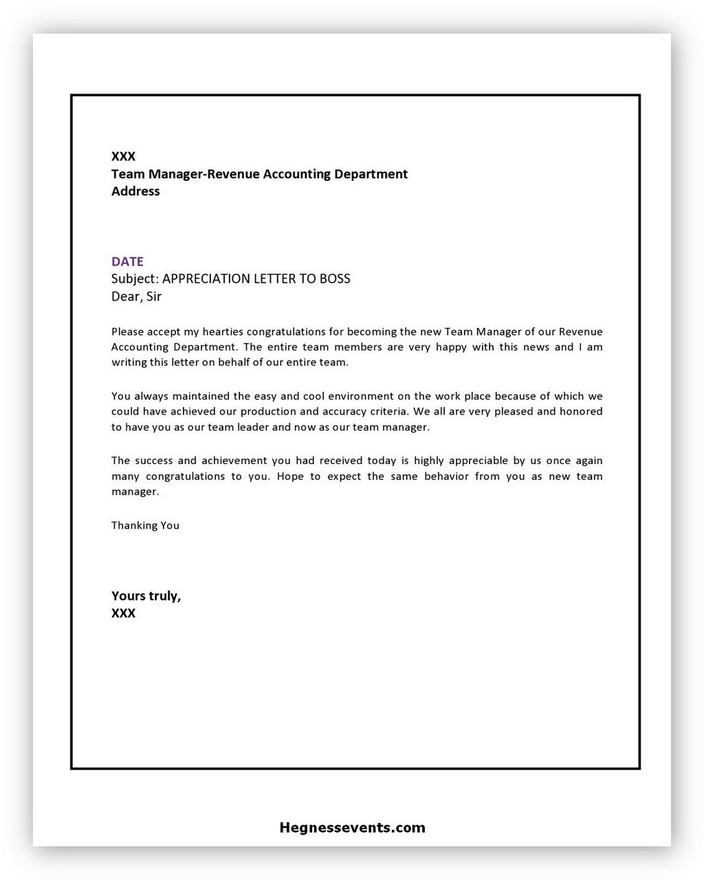 Appreciation Letter Sample 03