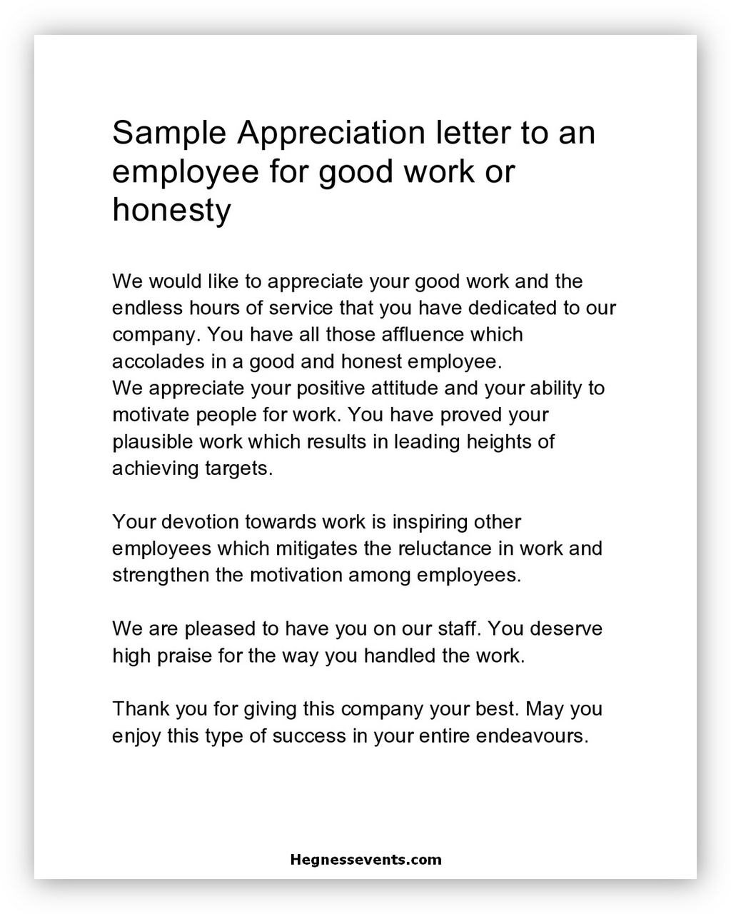 Appreciation Letter Sample 05
