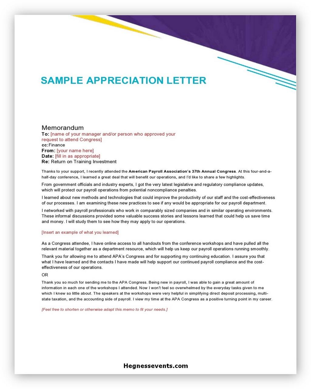 Appreciation Letter Sample 07