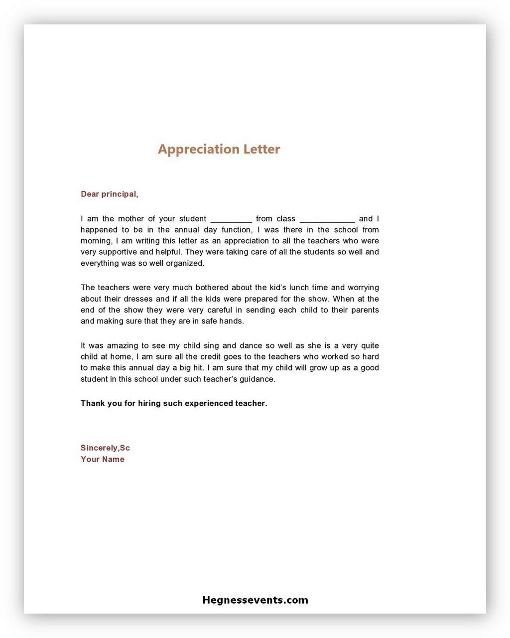 Appreciation Letter Template 01