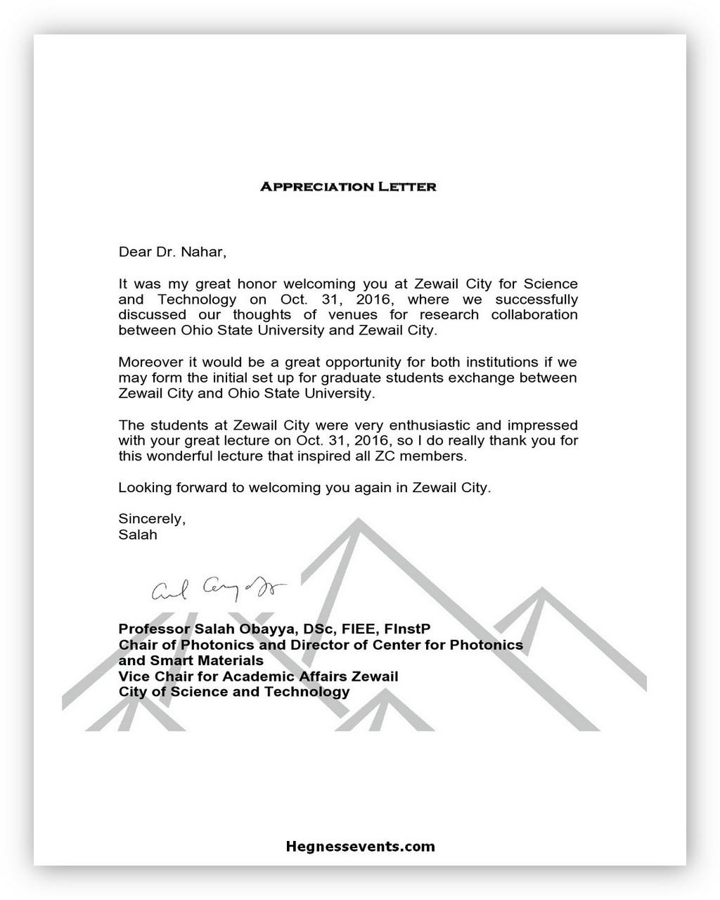 Appreciation Letter Template 06
