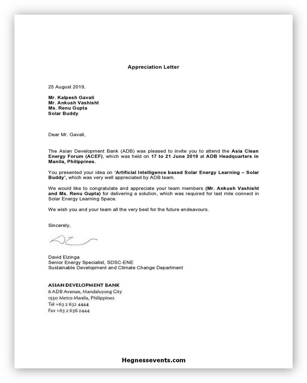 Appreciation Letter Template 07
