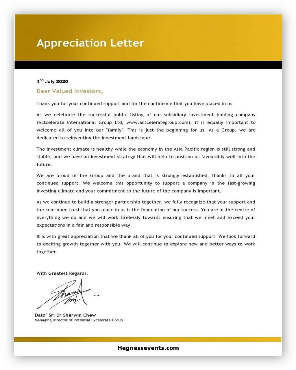 Appreciation Letter Template 08