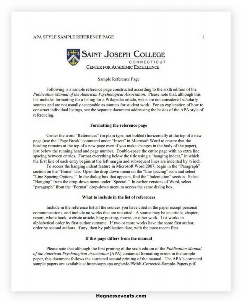 College Reference List Template