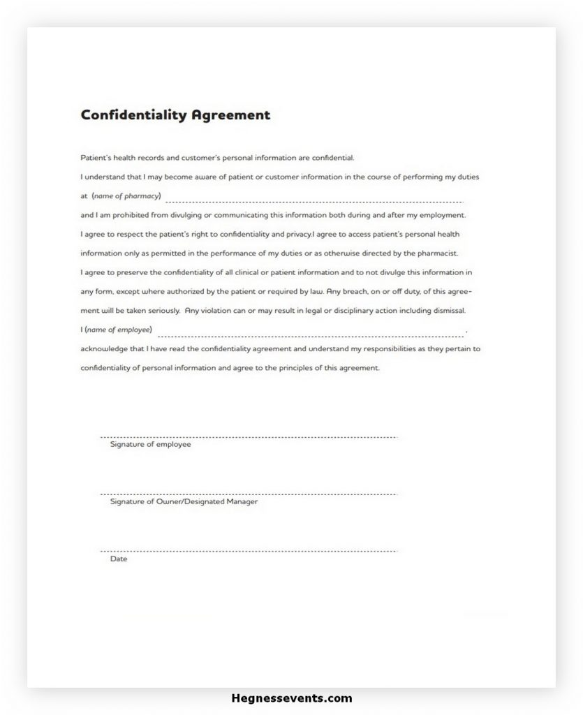 Confidentiality Agreement Form PDF