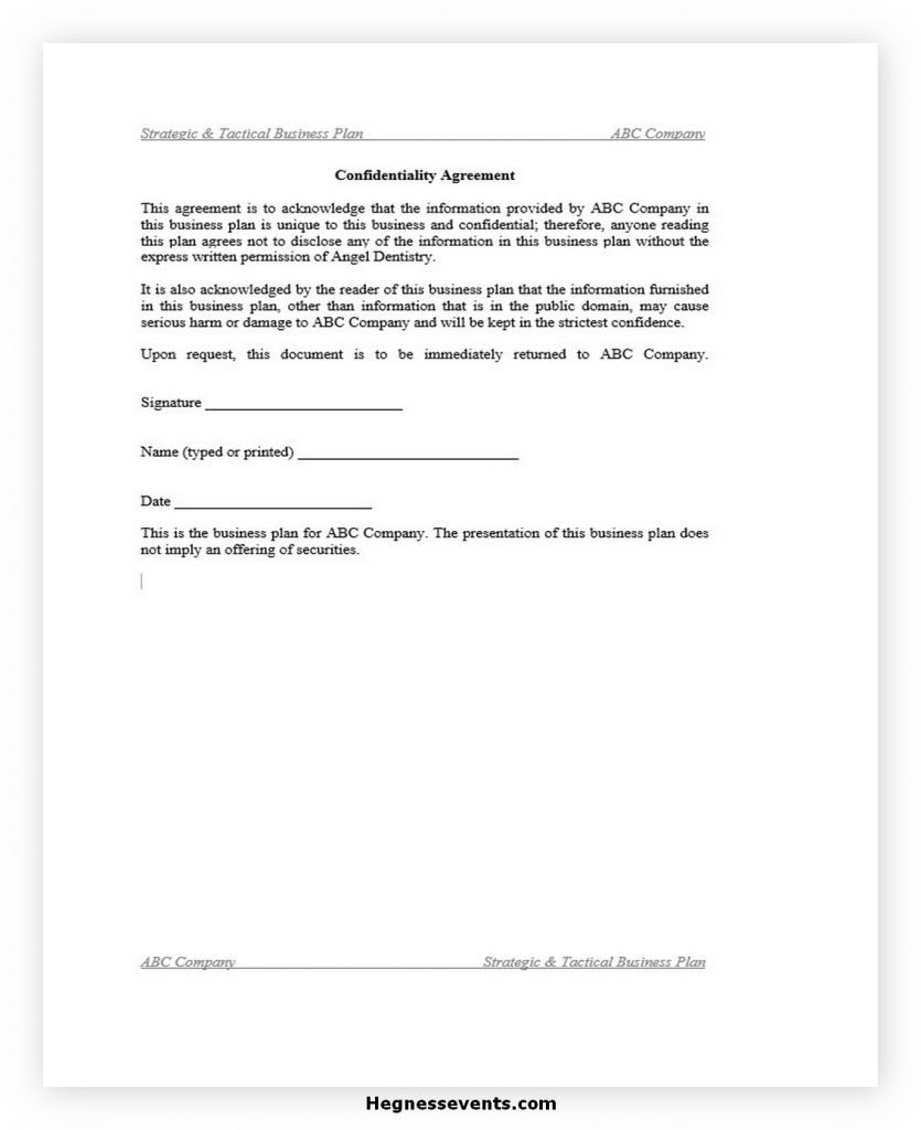 Confidentiality Agreement for Business