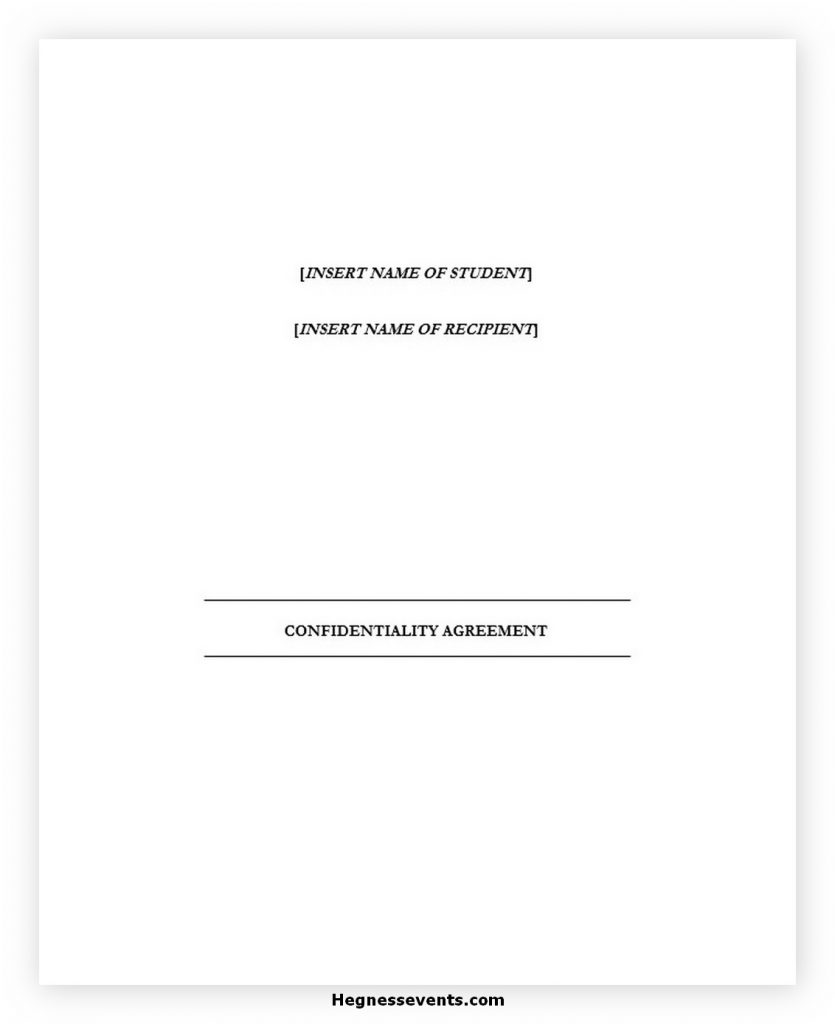 Confidentiality Agreements Template Word