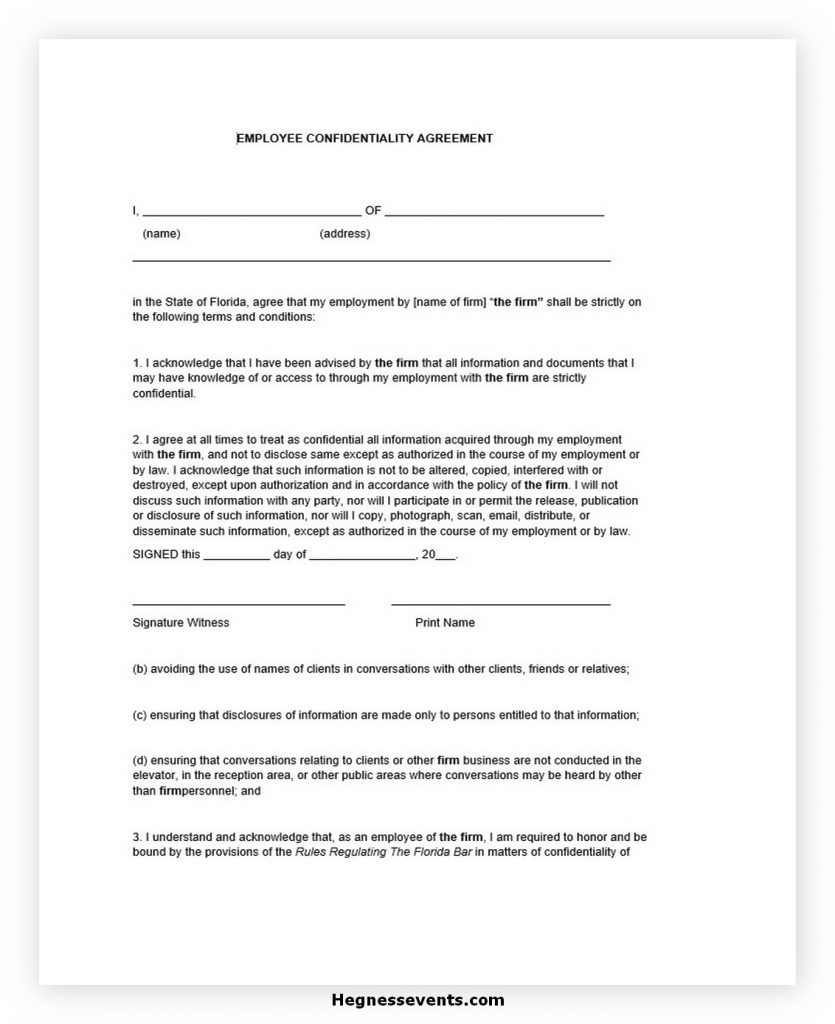 Employee Confidentiality Agreement Form