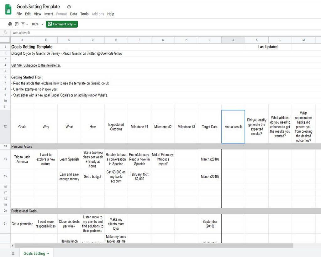 Goal Tracker Template Google Docs