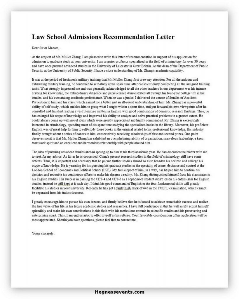Law School Recommendation Letter 01
