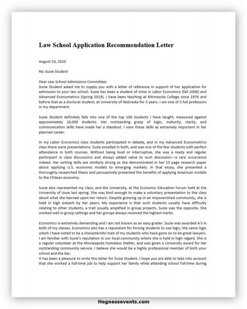 Law School Recommendation Letter 02