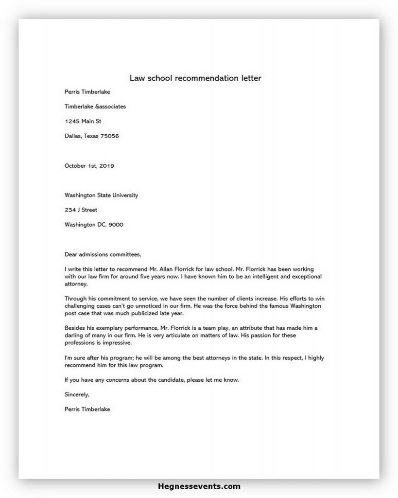 Law School Recommendation Letter 03