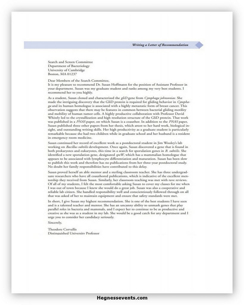 Law School Recommendation Letter Example