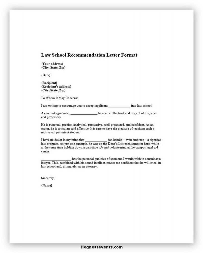 Law School Recommendation Letter Format