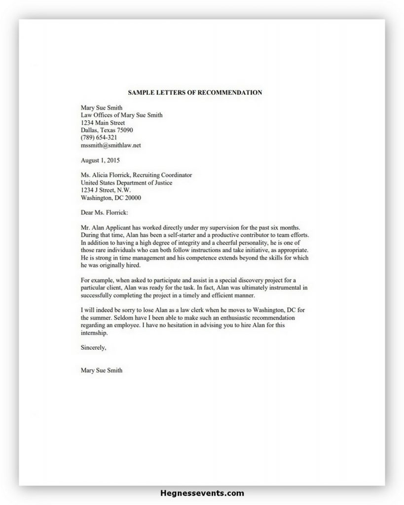 Law School Recommendation Letter Sample