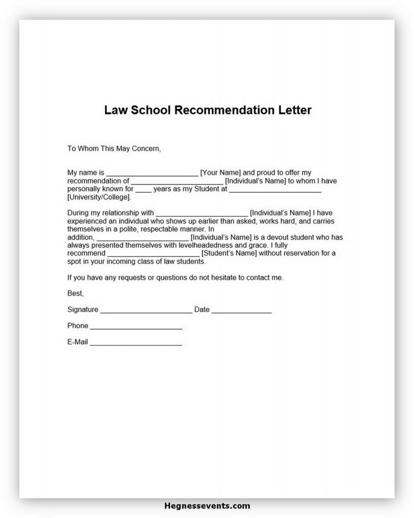 Law School Recommendation Letter Template
