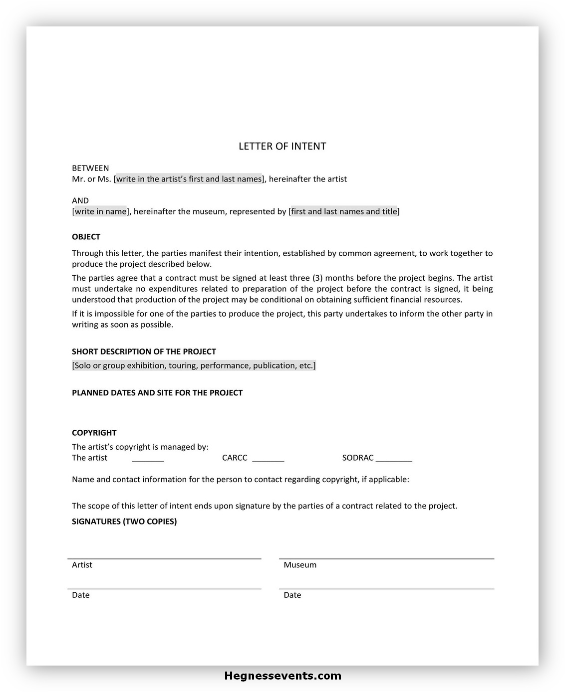 Letter of Intent Template 09