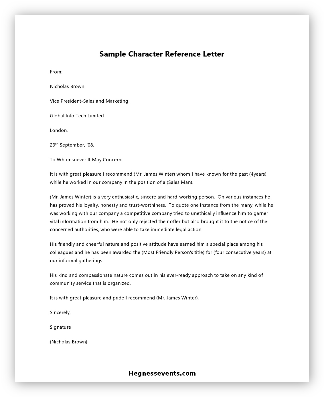 Letter of Reference Character 04