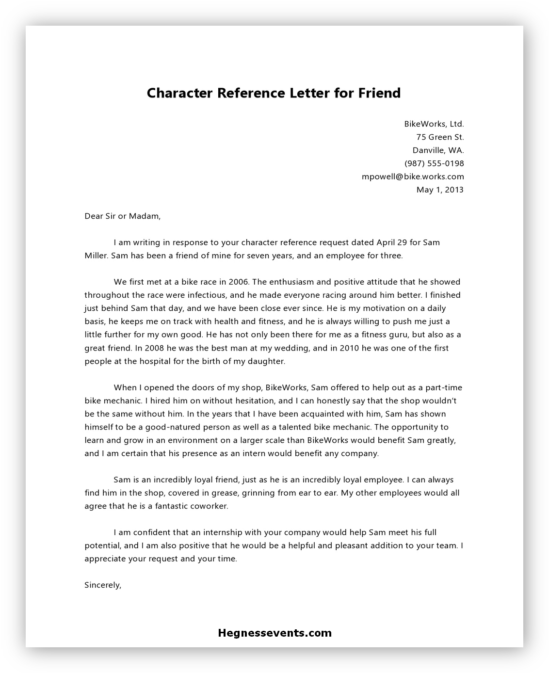 Letter of Reference Character 05