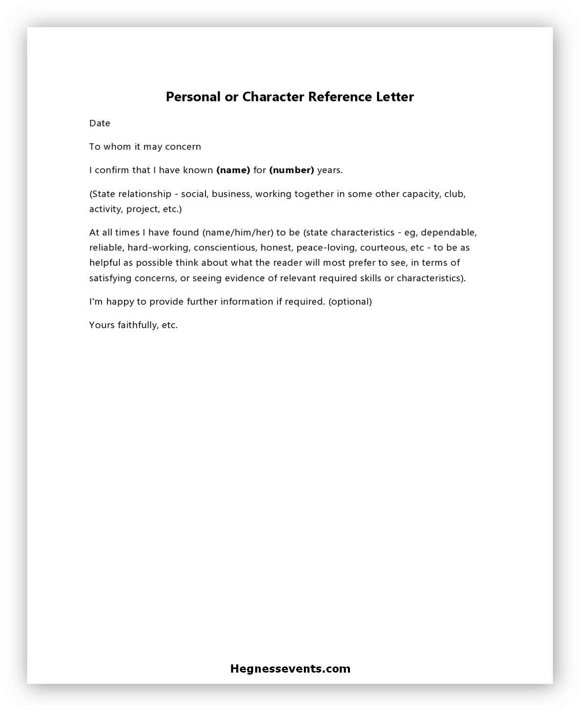 Letter of Reference Character 07