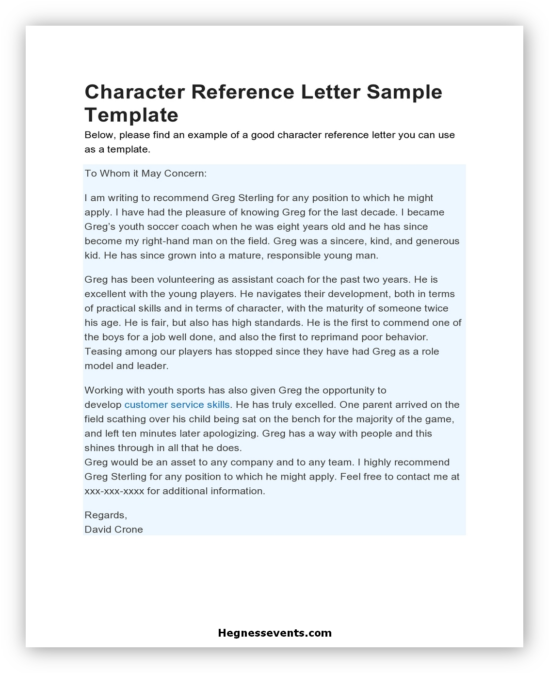 Letter of Reference Character 12