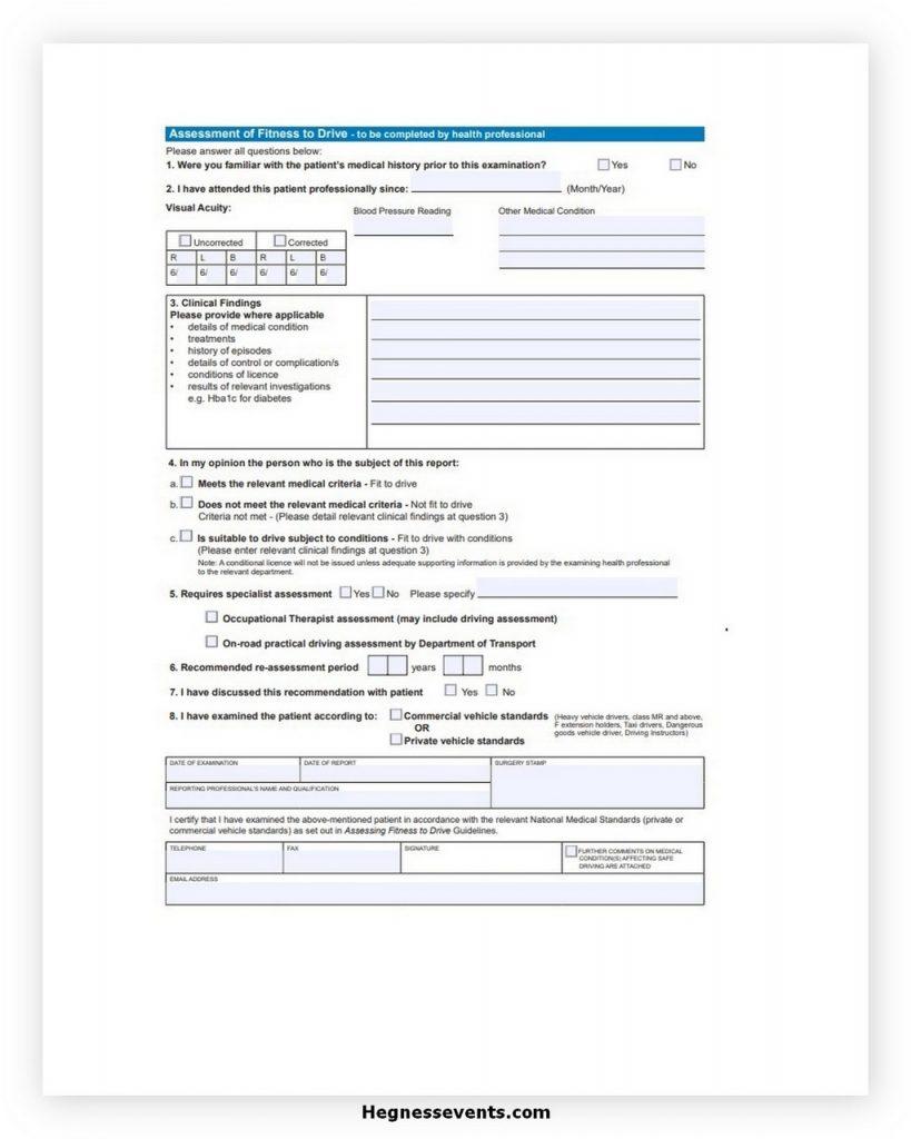 Medical Assessment Certificate Form