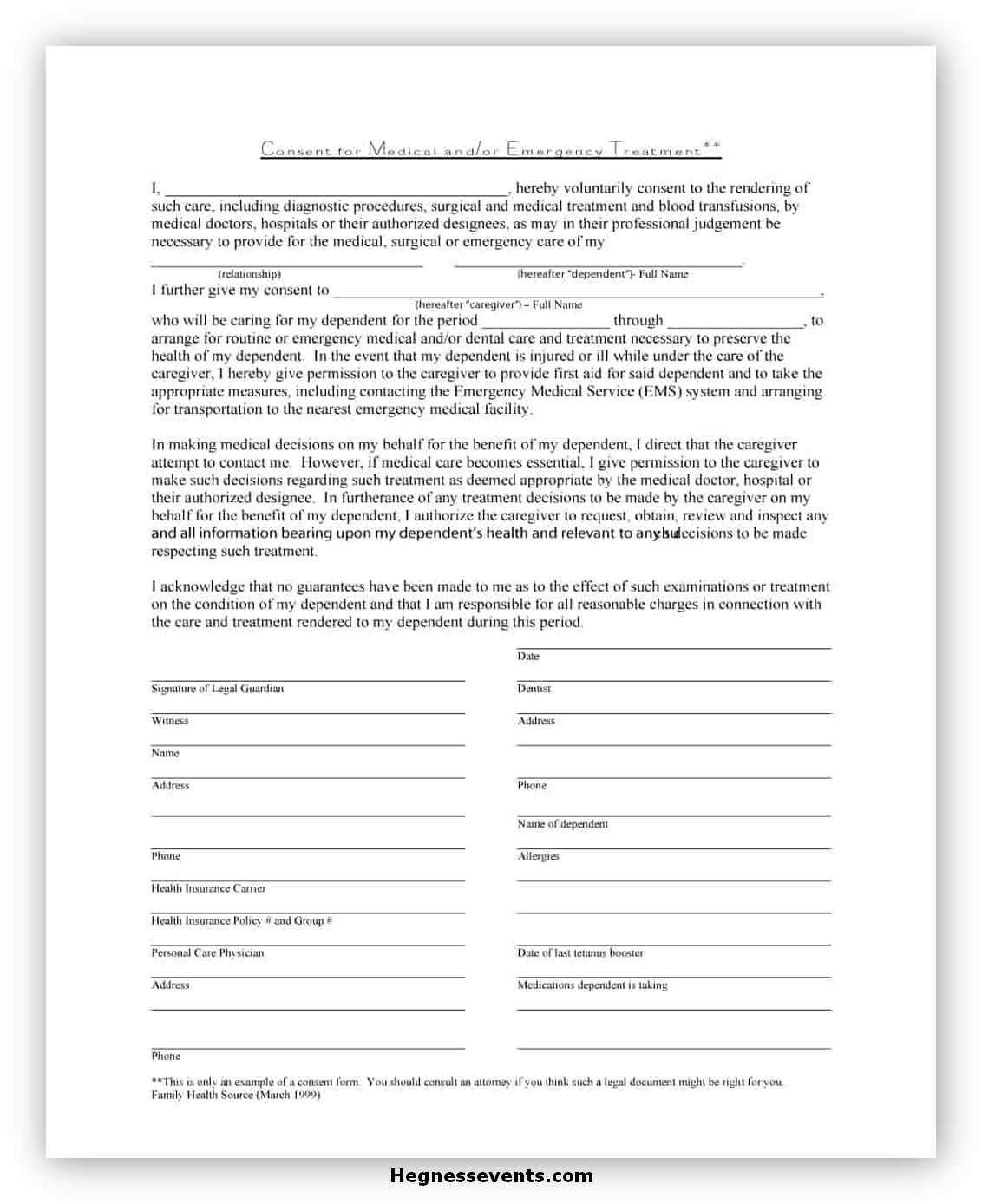 Medical Consent Form Printable 02