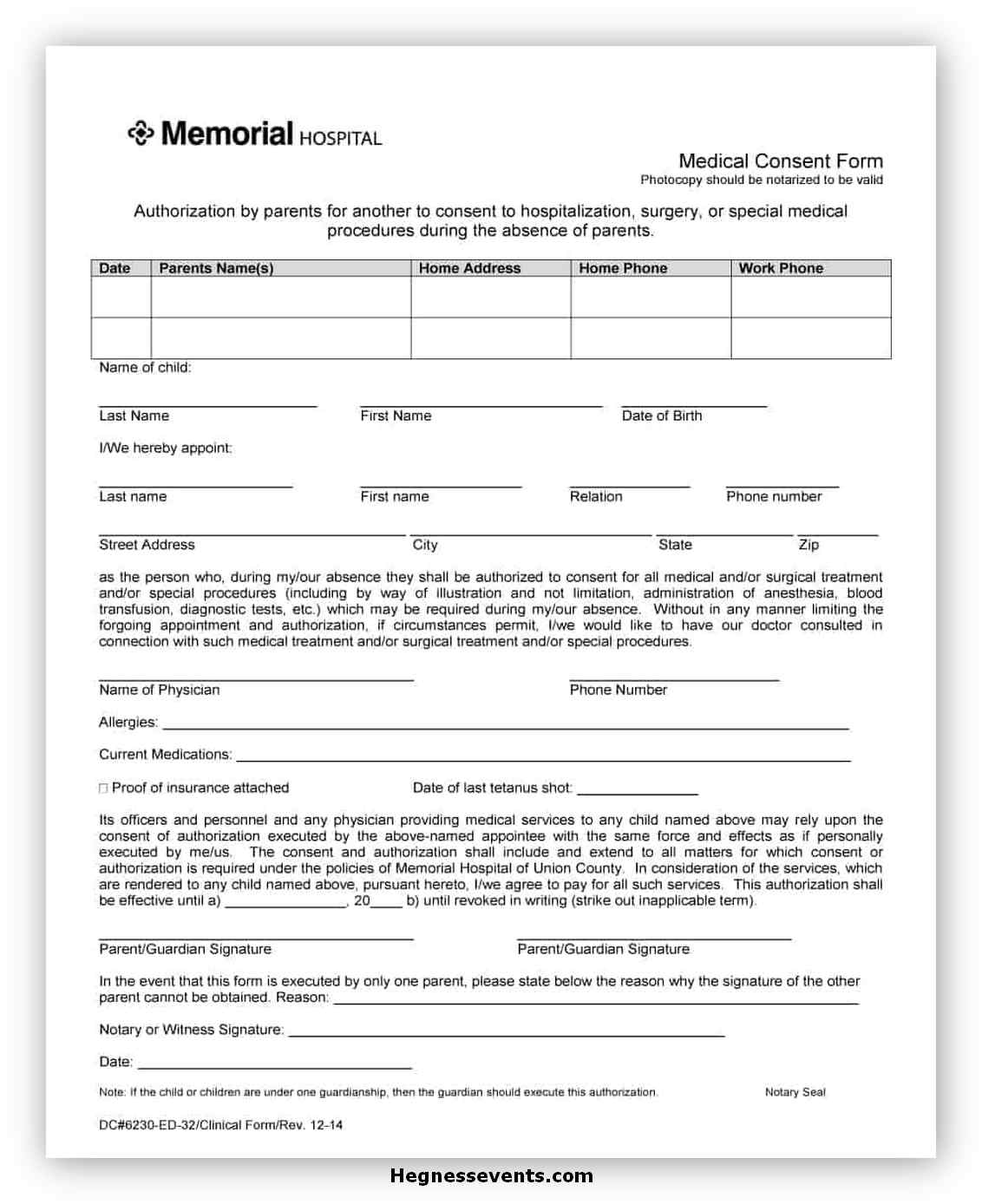 Medical Consent Form Template 12